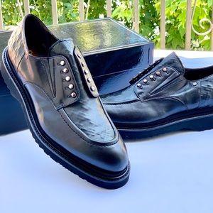 Cesare Paciotti Italian Black Leather Loafers 10